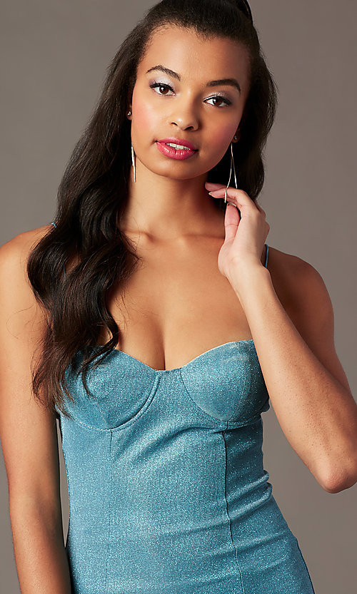 Image of bustier-bodice short blue holiday party dress. Style: BLU-IBD96108-1 Detail Image 2