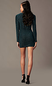 Image of long-sleeve green glitter-knit holiday party dress. Style: BLU-BD91113 Back Image