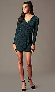 Image of long-sleeve green glitter-knit holiday party dress. Style: BLU-BD91113 Detail Image 1