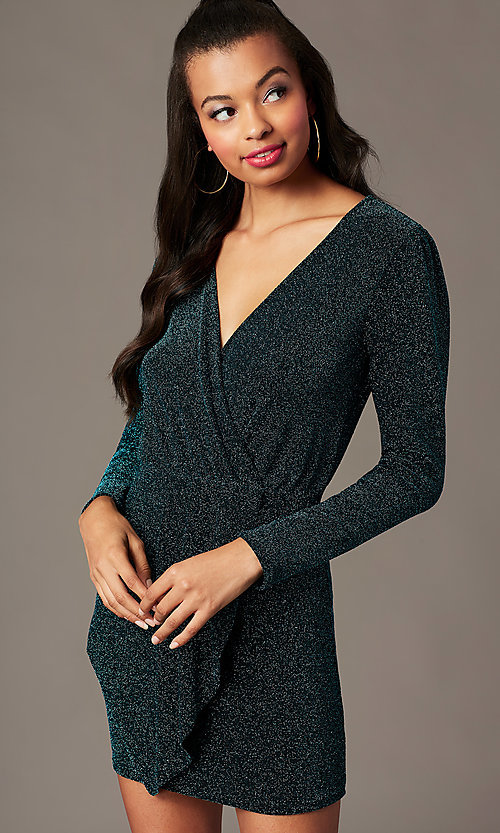 Image of long-sleeve green glitter-knit holiday party dress. Style: BLU-BD91113 Front Image