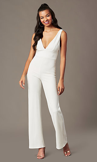 V-Neck Holiday Party Jumpsuit in Ivory White