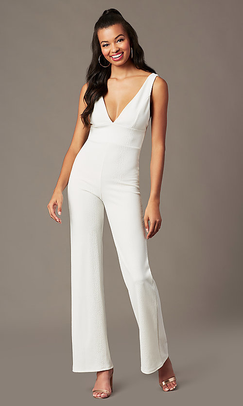 Image of v-neck holiday party jumpsuit in ivory white. Style: BLU-BR90349 Front Image