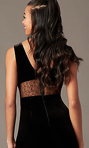 Image of black velvet holiday jumpsuit with sheer lace. Style: BLU-IBR96538 Detail Image 2