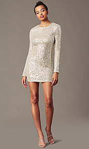 Image of sleeved silver and nude sequin holiday party dress. Style: JTM-JMD11057 Front Image