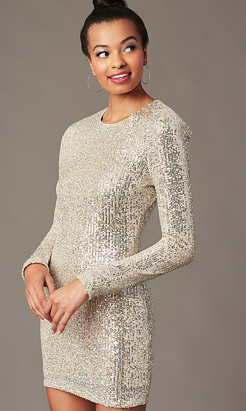 Image of sleeved silver and nude sequin holiday party dress. Style: JTM-JMD11057 Detail Image 1