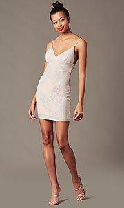 Image of short holographic pink sequin holiday party dress. Style: JTM-JD10399A Front Image