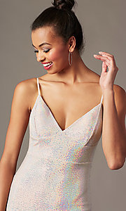 Image of short holographic pink sequin holiday party dress. Style: JTM-JD10399A Detail Image 2