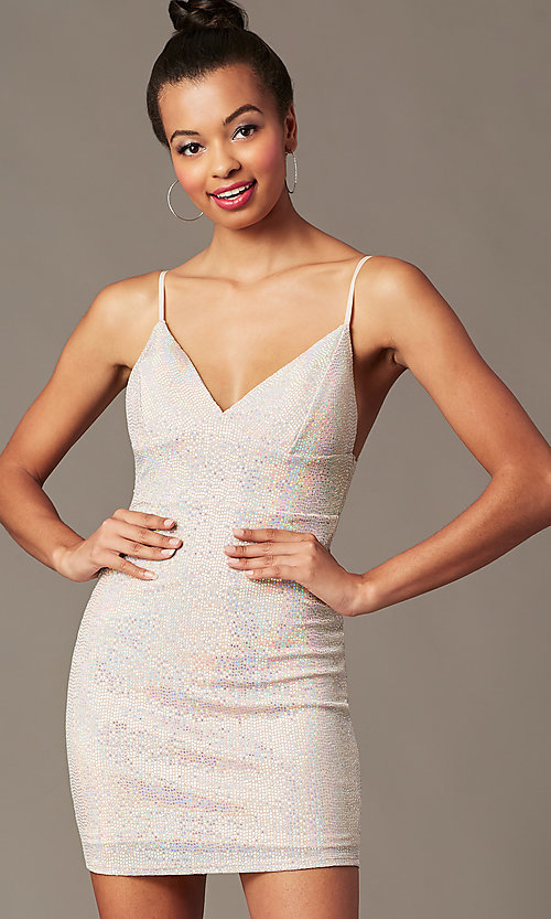 Image of short holographic pink sequin holiday party dress. Style: JTM-JD10399A Detail Image 1