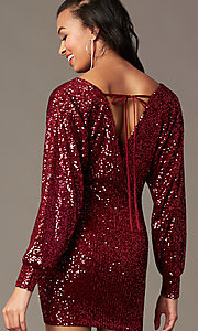 Image of sequin wine red holiday party dress with sleeves. Style: JTM-JD11116 Front Image