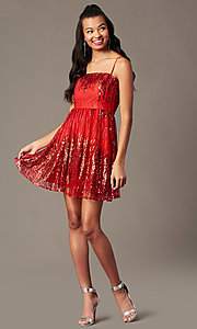Image of short red sequin holiday party dress. Style: SOI-S18858 Front Image