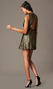 Image of back-cut-out short metallic holiday party dress. Style: IF-1018149D Detail Image 1