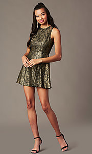 Image of back-cut-out short metallic holiday party dress. Style: IF-1018149D Detail Image 2