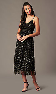 Image of tea-length gold-print black holiday party dress. Style: IF-101995DQ Front Image