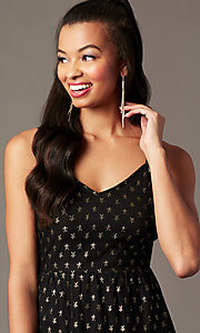 Image of tea-length gold-print black holiday party dress. Style: IF-101995DQ Detail Image 1