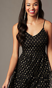 Image of tea-length gold-print black holiday party dress. Style: IF-101995DQ Detail Image 2