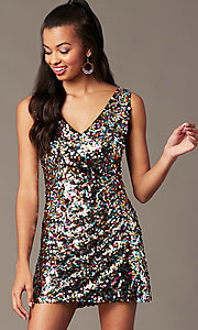 Image of short rainbow sequin holiday party dress. Style: IF-BD1441 Detail Image 1