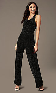 Image of holiday party black jumpsuit in glitter knit. Style: RO-R69899 Front Image