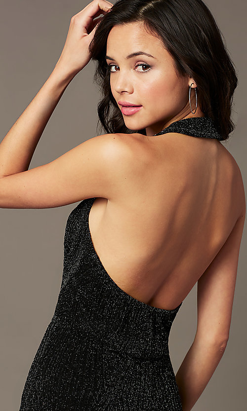 Image of holiday party black jumpsuit in glitter knit. Style: RO-R69899 Detail Image 1