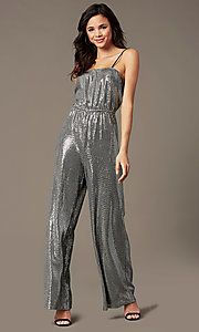Image of sequin-knit holiday party jumpsuit in silver. Style: RO-R69893 Front Image