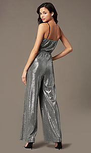Image of sequin-knit holiday party jumpsuit in silver. Style: RO-R69893 Back Image