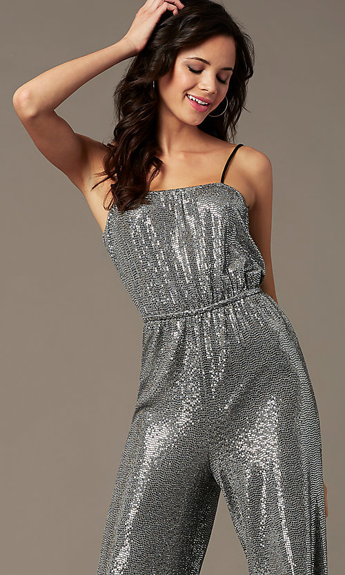 Image of sequin-knit holiday party jumpsuit in silver. Style: RO-R69893 Detail Image 1