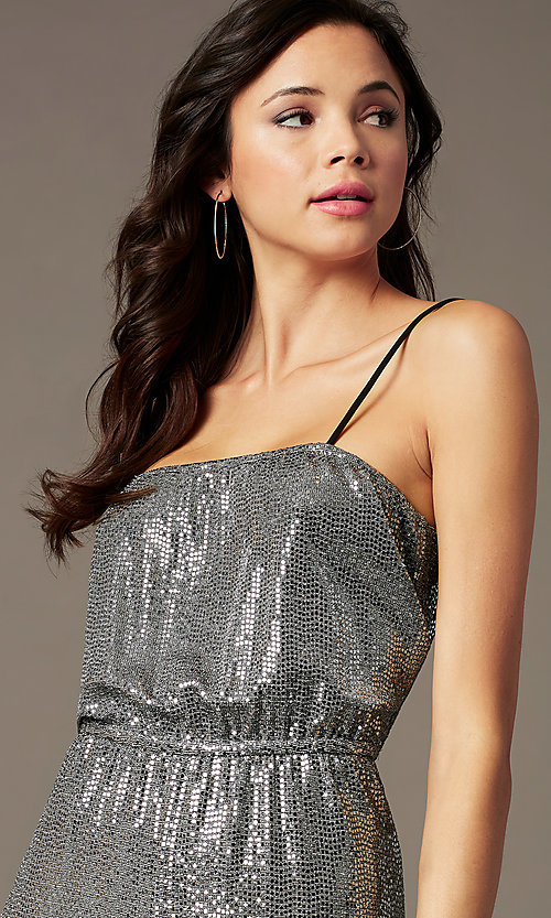 Image of sequin-knit holiday party jumpsuit in silver. Style: RO-R69893 Detail Image 2