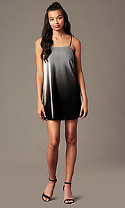 Image of short velvet black ombre holiday party shift dress. Style: RO-R67266 Detail Image 1