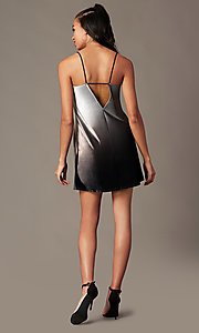 Image of short velvet black ombre holiday party shift dress. Style: RO-R67266 Detail Image 2