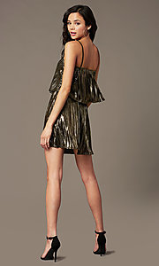 Image of short popover gold holiday party dress. Style: RO-R69903 Back Image