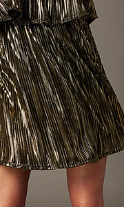 Image of short popover gold holiday party dress. Style: RO-R69903 Detail Image 2