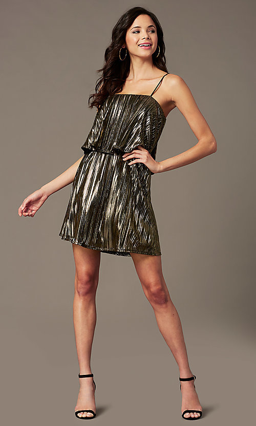 Image of short popover gold holiday party dress. Style: RO-R69903 Front Image