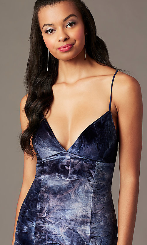 Image of short blue velvet holiday party dress. Style: RO-R68618 Detail Image 2