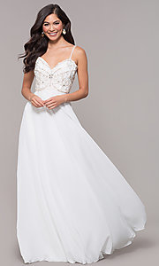 Image of sweetheart chiffon prom dress with adjustable straps. Style: SOI-W17850-v Detail Image 3