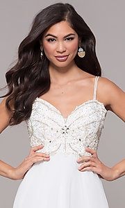 Image of sweetheart chiffon prom dress with adjustable straps. Style: SOI-W17850-v Detail Image 5