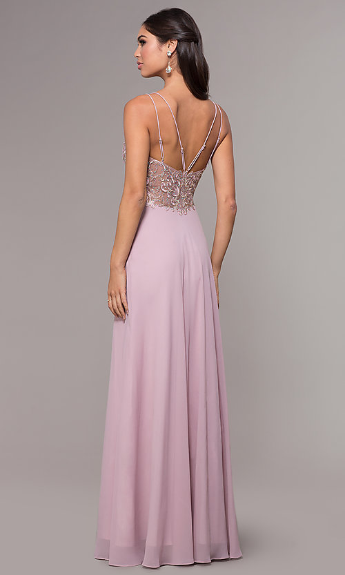 Image of sweetheart chiffon prom dress with adjustable straps. Style: SOI-W17850-v Back Image