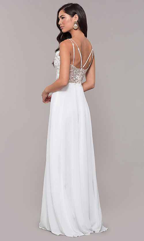 Image of sweetheart chiffon prom dress with adjustable straps. Style: SOI-W17850-v Detail Image 4