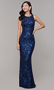 Image of caged-back long sequin blue prom dress by PromGirl. Style: PV-PL-101-v Front Image