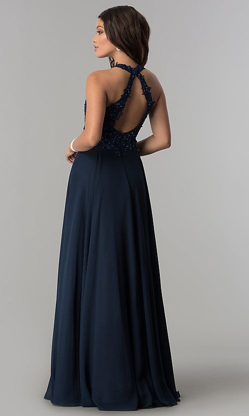 Image of mocha chiffon long prom dress with embroidery. Style: DQ-2017-v Back Image