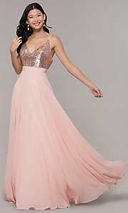 Image of long rose gold chiffon prom dress with sequins. Style: DQ-2680-v Front Image