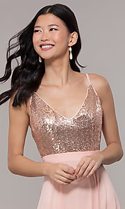 Image of long rose gold chiffon prom dress with sequins. Style: DQ-2680-v Detail Image 1