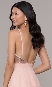 Image of long rose gold chiffon prom dress with sequins. Style: DQ-2680-v Detail Image 2