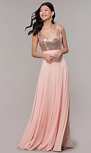 Image of long rose gold chiffon prom dress with sequins. Style: DQ-2680-v Detail Image 3