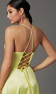 Image of faux-wrap open-back yellow long prom dress. Style: CT-2622HB5A Detail Image 1
