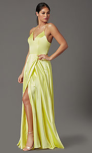 Image of faux-wrap open-back yellow long prom dress. Style: CT-2622HB5A Back Image