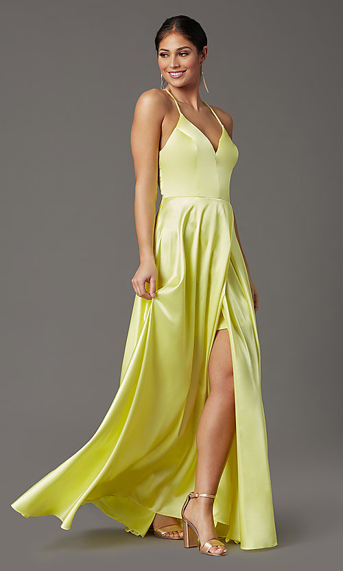 Image of faux-wrap open-back yellow long prom dress. Style: CT-2622HB5A Detail Image 2