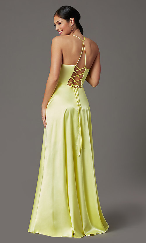 Image of faux-wrap open-back yellow long prom dress. Style: CT-2622HB5A Front Image