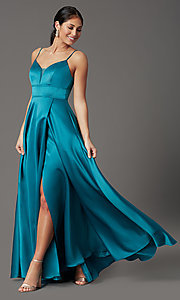 Image of faux-wrap long satin prom dress in teal blue. Style: CT-5752EU8A Front Image