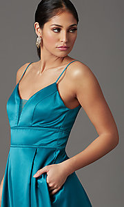 Image of faux-wrap long satin prom dress in teal blue. Style: CT-5752EU8A Detail Image 1