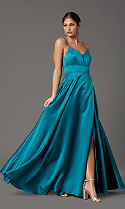 Image of faux-wrap long satin prom dress in teal blue. Style: CT-5752EU8A Detail Image 2