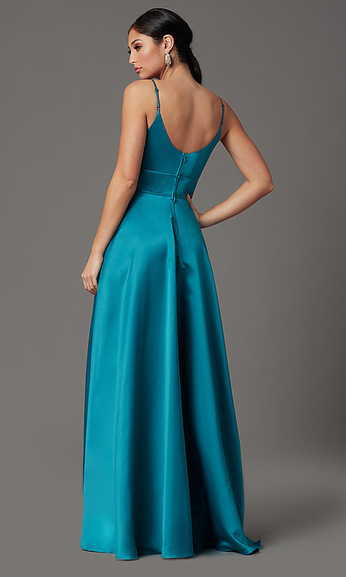 Image of faux-wrap long satin prom dress in teal blue. Style: CT-5752EU8A Back Image